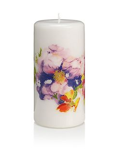 Large Floral Candle | M&S