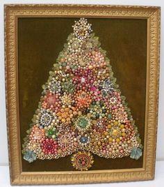Vintage Framed Costume Jewelry Christmas by WildrosePrimitives