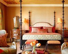 Warm orange and sage green Moroccan bedroom #decor #exotic #trends