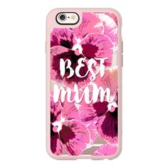 PINK PANSIES BEST MUM FLOWERS TYPOGRAPHIC MOTHER MOTHER'S DAY  -... ($40) ❤ liked on Polyvore featuring accessories, tech accessories, phone cases, phone, cases, iphone, iphone case, pink iphone case, iphone cases and iphone hard case