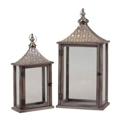 Woodland Imports BRU-481392 Wooden Lantern with Traditional Eastern Designed Metal Roofs (set of 2)