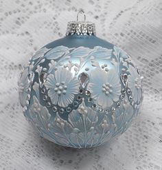 Soft Blue Hand Painted White MUD Texture Floral Design with Bling 334 by MargotTheMUDLady on Etsy SOLD!