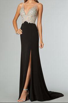 Navy Ball;; 2014 Full Beaded Tulle Bodice Backless Sexy Chiffon Prom Dress Court Train Black USD 169.99 EPPPRDS3M5 - ElleProm.com