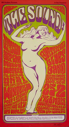 A classic by Wes Wilson, the godfather of psychedelic poster art. Date: 1966 Venue: Winterland and Fillmore Auditorium Bands: Jefferson Airplane, Muddy Waters, Butterfield Blues Band Print: Fifth print from 1967 or signed by Wes Wilson. Rock Posters, Hippie Posters, Band Posters, Psychedelic Rock, Psychedelic Posters, Vintage Concert Posters, Vintage Posters, Wes Wilson, Kunst Poster