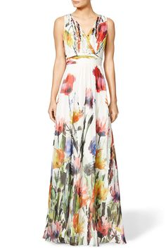 Floral V Neck Sleeveless Maxi Dress