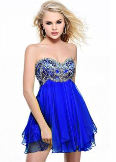 @roressclothes clothing ideas #women fashion Royal Blue Short Beaded Strapless Babydoll Dress