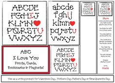 Mother's Day activities: FREE ABC I Love You Writing Prompt Craftivity: cards, bookmarks & magnets. Great for Mother's Day, Valentine's Day, Father's Day or Grandparent's Day too. Includes a sample to help explain the bookmark writing prompt. Father's Day Activities, Valentines Day Activities, Teacher Freebies, Classroom Freebies, I Love You Notes, My Love, Sneezy The Snowman, Grandparents Day Cards, Dad Birthday