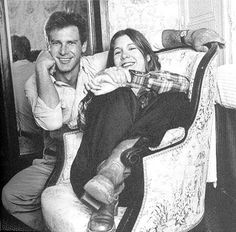 A young Harrison Ford and Carrie Fisher.