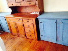 blue sideboards/cabinets in Aubusson blue, Duck Egg blue & Louise blue. Dark & clear wax.  Annie Sloan Chalk paint.