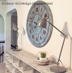 Whimsy Girl Design: Farmhouse inspired clocks, galvanized metal, oversized, wall clock, task lamp, apothecary shelf