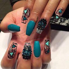 Turquoise diamond clear Matt coffin nails