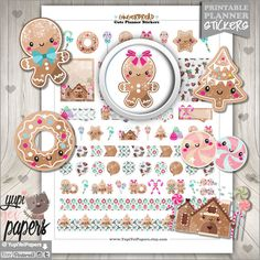 Gingerbread+Stickers++Kawaii+Stickers+Planner+by+YupiYeiPapers