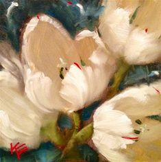 """Winter Tulips"" - Original Fine Art for Sale - © Krista Eaton"