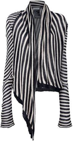 Ann Demeulemeester Open Contrast Stripe Cardigan - Lyst