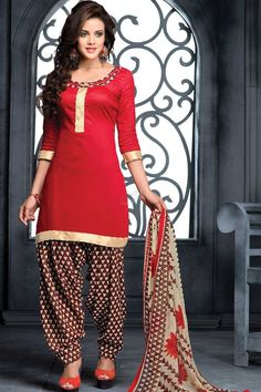 Maroon Cotton Patiala Salwar Suit with Chiffon Dupatta Maroon cotton, printed print, semi stictch patiala suit.  Round neck, Above knee length, quarter sleeves kameez.  Beige and maroon cotton patiala salwar.  Beige and maroon chiffon dupatta with lace border with work. It is perfect for casual wear and festival wear wear.