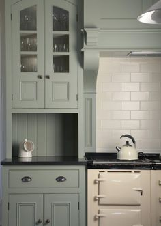 interiors Christopher Peters Bespoke kitchen finished in Lichen by Farrow & Ball