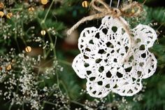 Mod Podge over lace doily made into beautiful Christmas tree ornaments.