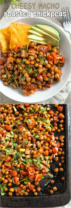 Cheesy nacho roasted chickpeas - with juicy roasted tomatoes, melty cheese, and plenty of spice! A healthier way to enjoy your favourite nacho flavours, with much more protein and fibre.