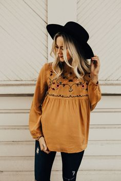 Havana Embroidered Babydoll in Ochre | ROOLEE