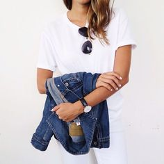 As simple as it gets. | White tee, aviators, and denim jacket.