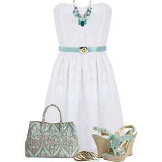 White Bandeau Dress, created by daiscat on Polyvore