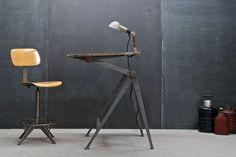 Netherlands, c.1950s. Rare Wm. Rietveld & Friso Kramer De Stijl Drafting Table. Signe D'Or Winners, Brussels. Mfg'd Ahrend de Cirkel Industries. Enameled Steel Frame, Adjustable, Knob Tension to Lock-In Angles.