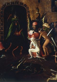 The Last Judgement / Oil on panel, detail from central panel) - Hieronymus Bosch Art And Illustration, Baphomet, Hieronymus Bosch Paintings, Christian Mysticism, Renaissance Artists, Examples Of Art, Dutch Painters, Creepy Art, Reproduction