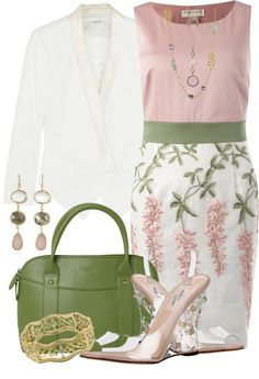 """Spring Pink and Green"" by brendariley-1 on Polyvore AKA 1908 #followprettypearlsinc"