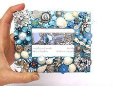 Fotorahmen Muscheln Schmuck Bilderrahmen blau Mosaik Mixed