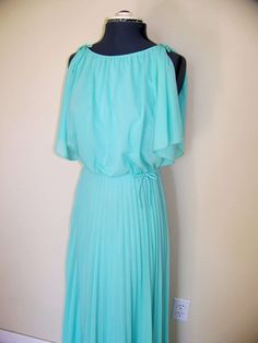 Vintage Mint Seafoam Dress accordion pleats bows butterfly sleeve Maxi length long small medium party cocktail prom teal turquoise on Etsy. $45.00, via Etsy.