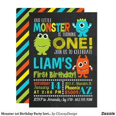Monster Birthday Party Invitation - Super cute and fun kids Monster party invitation. Monster 1st Birthdays, Twins 1st Birthdays, Monster Birthday Parties, Monster Party, 3rd Birthday Parties, 1st Birthday Invitations Boy, 1st Boy Birthday, Reno, Turning