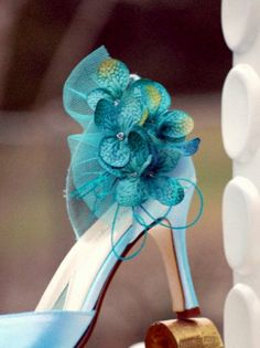 Turquoise Hydrangeas Shoe Clips! Custom made colors and combinations. http://sofisticata.etsy.com