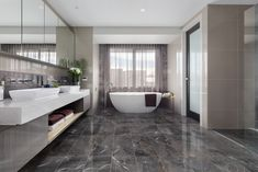 Ensuite // A Coco Black bathroom calls for hotel-luxe vibes. Floor to ceiling tiling in rich brown marbles gives a nod to past eras and adds a layer of elegance and timeless beauty. Styled in the Metricon Hampshire Show Home in Essendon, VIC. Exterior Design, Interior And Exterior, Interior Design Inspiration, Building A House, Luxury, Modern, Bathroom Designs, Bathroom Ideas, Bathrooms