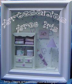 Cuadros infantiles con miniaturas modelo Bianca  ♥ Vitrine Miniature, Shadow Box Art, Ribba Frame, Creative Box, Small Cabinet, Frame Display, Box Frames, Dollhouse Furniture, Girls Bedroom