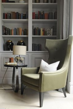 Elephant Table Lamp and Fig Side Table by Porta Romana, Interiors by TH2 Designs