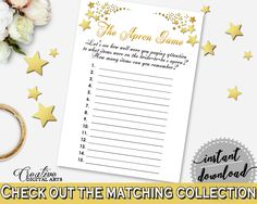 Gold Stars Bridal Shower The Apron Game in White And Gold, paying attention, gold white, bridal shower idea, party ideas, prints - 6GQOT #bridalshower #bride-to-be #bridetobe