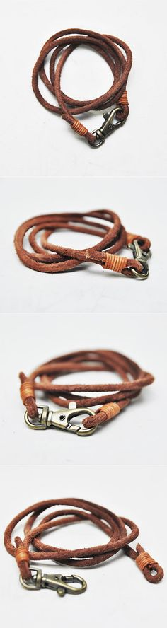 Accessories :: Bracelets :: Triple Coil Vintage Cowhide-Bracelet 111 - Mens Fashion Clothing For An Attractive Guy Look