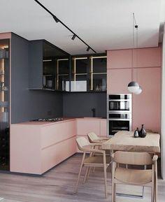 Modern Kitchen Interior Die grys en pienk werk baie mooi saam vir 'n moderne kombuis Modern Kitchen Design, Interior Design Kitchen, Modern Interior Design, Design Bathroom, Modern Interiors, Black Interiors, Pastel Interior, Best Kitchen Designs, Bathroom Modern