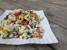 Asian-Inspired Cauliflower & Beluga Lentil Salad   © Life Through the Kitchen Window Different Salads, Urban Cottage, Cauliflower Salad, Lentil Salad, Plant Based Eating, Lentils, Cobb Salad, Feta, Window