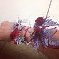 aluminum wire, rose and fern wrist /arm corsage
