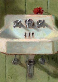 Dit vind ik ook leuke kunst: 'Cottage Sink' - Original Fine Art for Sale - © Linda Jacobus