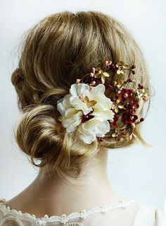 Hey, I found this really awesome Etsy listing at https://www.etsy.com/ca/listing/465431276/floral-hair-clip-burgundy-wedding