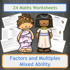 24 worksheets covering Factors (12 sheets) and Multiples (12 sheets) for a range of abilities including 5 worksheets filled with Ancient Greek themed word problems and 5 worksheets filled with Ancient Egyptian themed word problems. Worksheets range from finding factors of 2 to 4 digit numbers and finding numerous multiples of numbers up to 20.