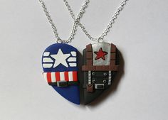Captain America & Bucky Barnes Friendship Necklaces - CharmingClayCreation -- For the soldier in us. Captain America Bucky, Captain America Winter, Winter Soldier, Marvel Gifts, Marvel Clothes, Bucky And Steve, Friendship Necklaces, Marvel Fan, Marvel Room
