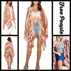 """FREE PEOPLE Swing Cardi Wrap Poncho Cardigan  NEW WITH TAGS  Retail: $168  FREE PEOPLE Swing Cardi Wrap Poncho Cardigan    * Relaxed, oversized fit & swing style.   * Open front, drapery silhouette, & asymmetrical hi-lo hem.   * Super soft knit construction.   * It measures about 32-42"""" long.   * Side seam pockets.   Fabric: A cotton, linen, viscose, & nylon blend.   Color: Sunset Combo   Item:   No Trades ✅ Offers Considered*✅  *Please use the blue 'offer' button to submit an offer. Free…"""
