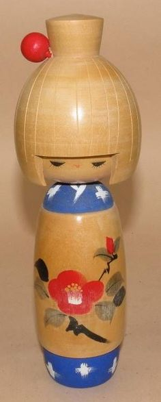Vintage Kokeshi Doll from Japan - Girl with red ball in hair