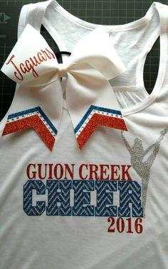 Matching custom shirt and bow set, cheerleading shirt, big cheer bow, cheer camp shirt, team shirts, cheer tank top, cheer outfit