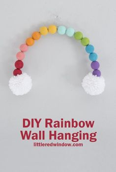 Brighten up your home decor with this fun rainbow wall hanging, this fun craft project is perfect for St. Patrick's Day or any day you need a little joy! The Effective Pictures We Offer You About Fram New Crafts, Crafts For Kids, Kids Diy, Pom Pom Crafts, Yarn Crafts, Acrylic Craft Paint, Rainbow Crafts, Diy Craft Projects, Craft Ideas
