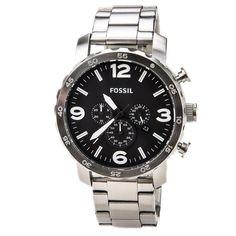 Fossil JR1353 Men's Nate Chrono Black Dial Steel Bracelet Dual Time Watch