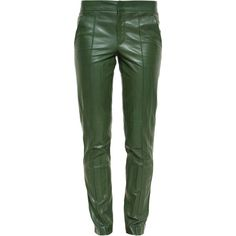 Gucci Creased Leather Trousers ($2,095) ❤ liked on Polyvore featuring pants, green leather pants, leather trousers, gucci, gucci pants and tailored pants